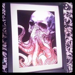 Accessories - Octopus skull print in frame gothic steampunk